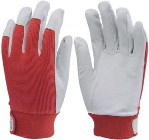 Védőkesztyű puha színsertés, piros vászon kézhát, elasztikus, állítható csuklórész