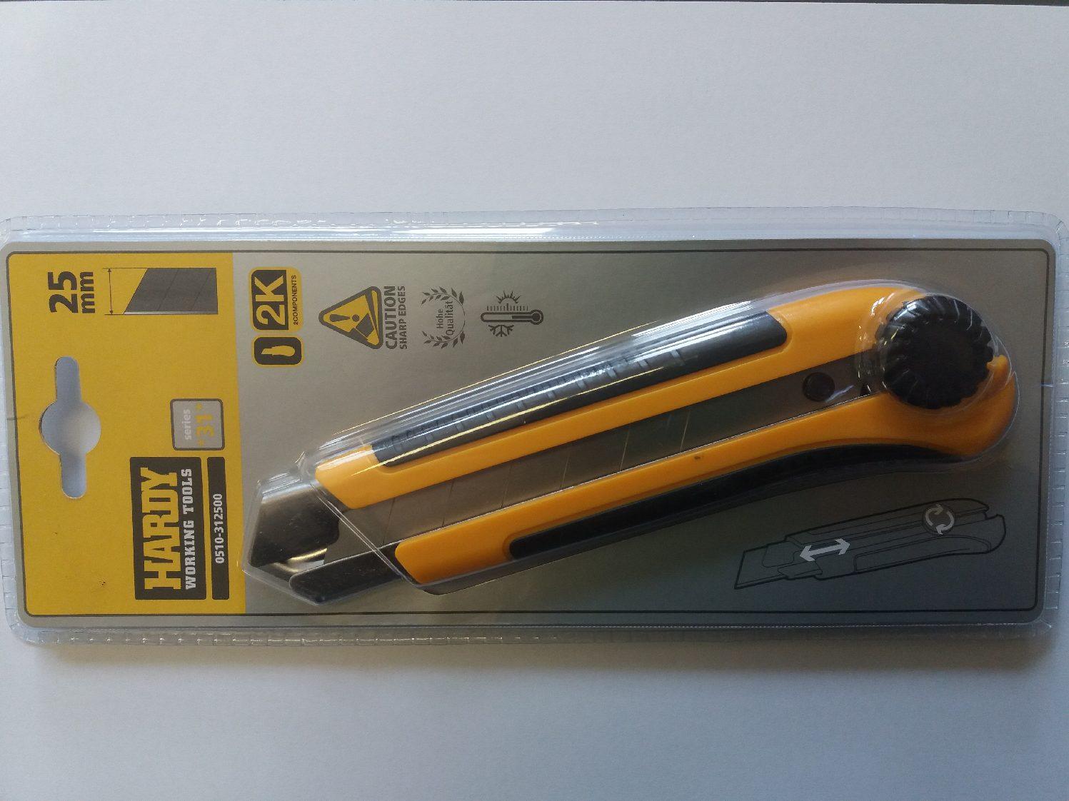 Univerzális kés csavaros, fémkivezetéses, 2K markolat, 25mm